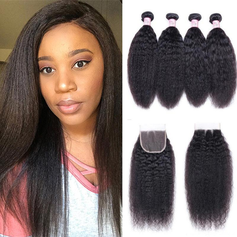 Indian Hair 4 Bundles with Lace Closure Kinky Straight Hair