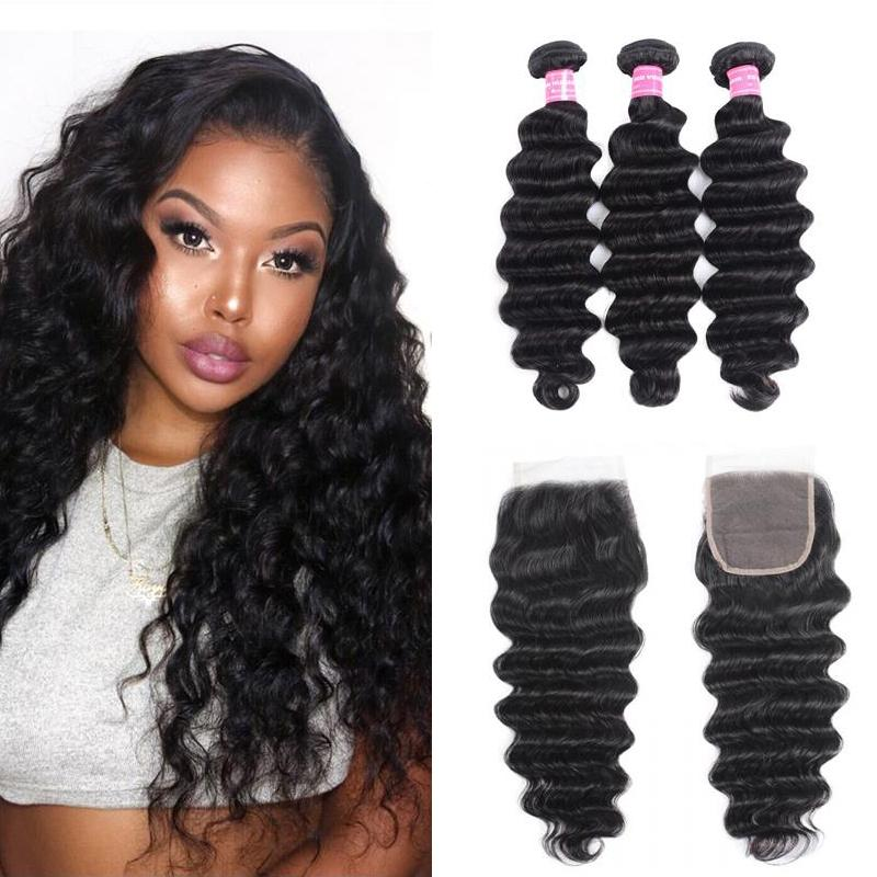 Indian Hair 3 Bundles with Lace Closure Loose Deep Hair