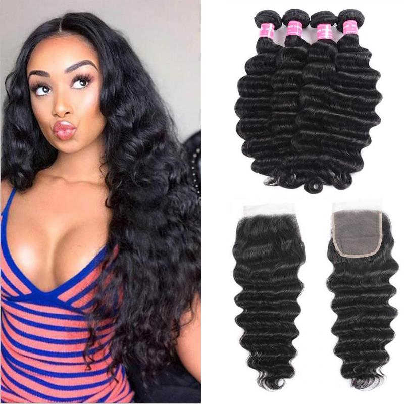 Indian Hair 4 Bundles with Lace Closure Loose Deep Hair