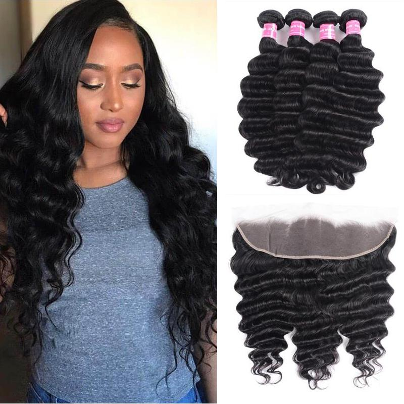 Indian Hair 4 Bundles with Lace Frontal Loose Deep Hair