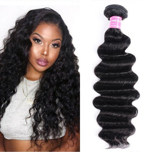 Indian Virgin Hair Weave Bundles Loose Deep Hair