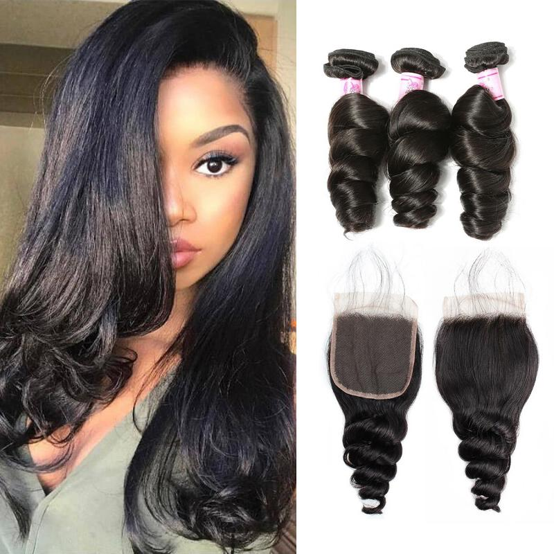 Indian Hair 3 Bundles with Lace Closure Loose Wave Hair