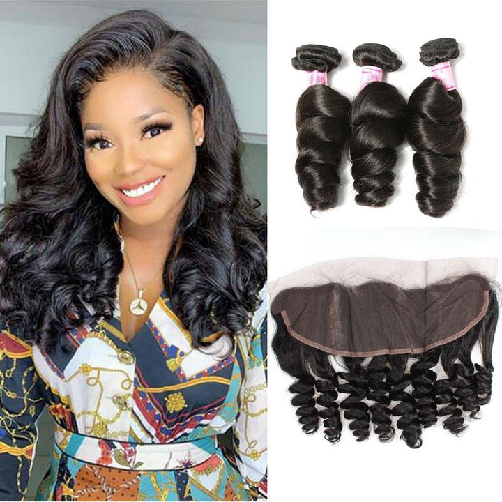 Indian Hair 3 Bundles with Lace Frontal Loose Wave Hair