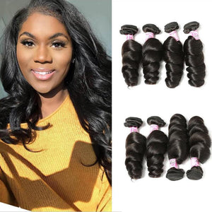 Indian Virgin Hair Weave 4 Bundles Loose Wave Hair