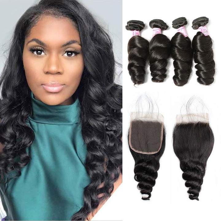Indian Hair 4 Bundles with Lace Closure Loose Wave Hair