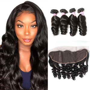 Indian Hair 4 Bundles with Lace Frontal Loose Wave Hair