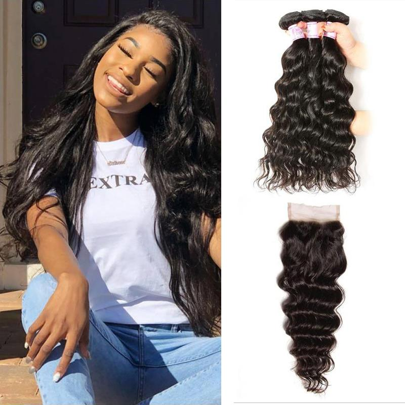 Indian Hair 3 Bundles with Lace Closure Natural Wave Hair