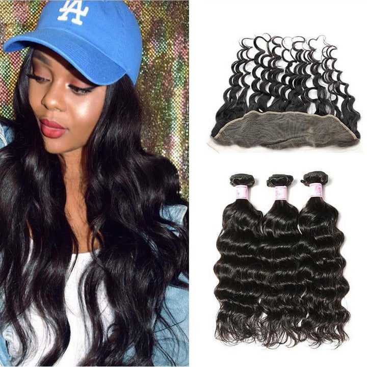 Indian Hair 3 Bundles with Lace Frontal Natural Wave Hair