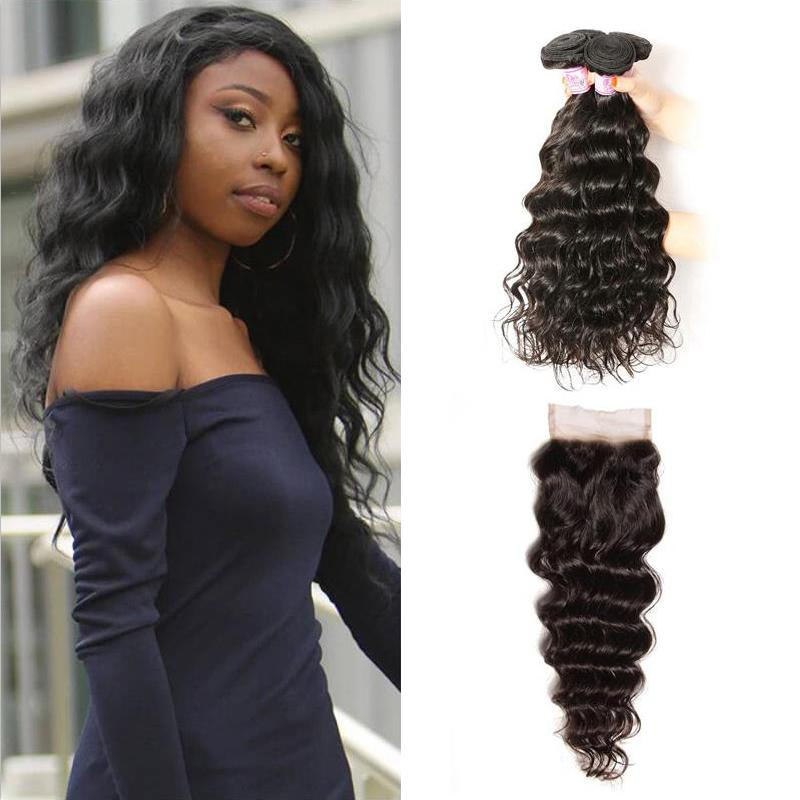 Indian Hair 4 Bundles with Lace Closure Natural Wave Hair