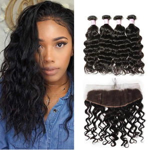 Indian Hair 4 Bundles with Lace Frontal Natural Wave Hair