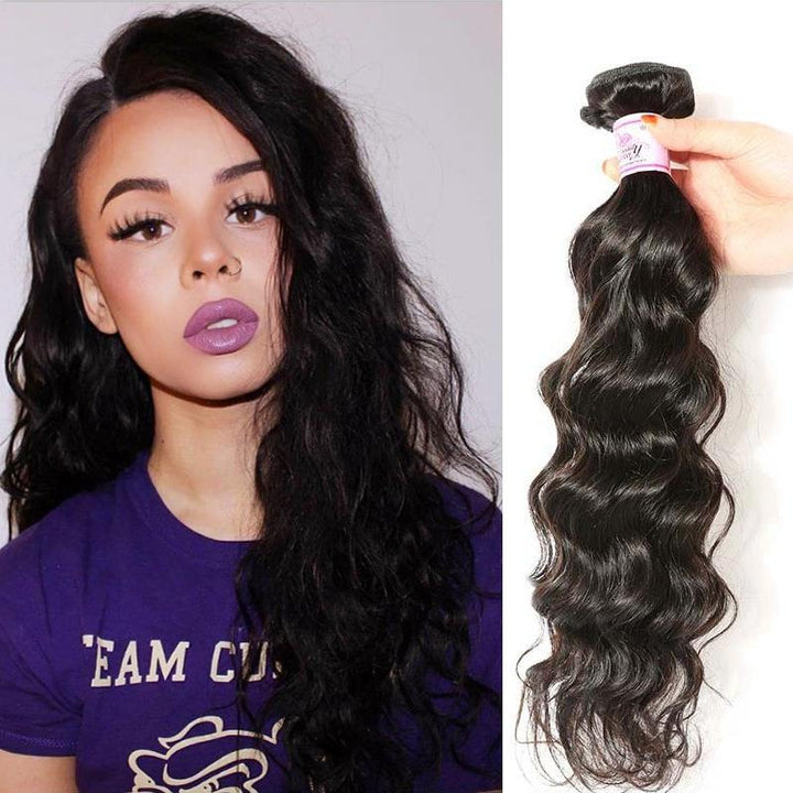 Indian Virgin Hair Weave Bundles Natural Wave Hair