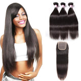 Indian Hair 3 Bundles with Lace Closure Straight Hair