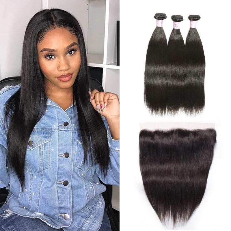 Indian Hair 3 Bundles with Lace Frontal Straight Hair