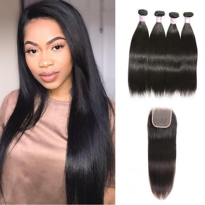 Indian Hair 4 Bundles with Lace Closure Straight Hair
