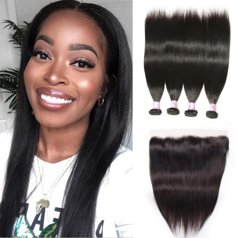Indian Hair 4 Bundles with Lace Frontal Straight Hair