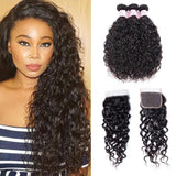 Indian Hair 3 Bundles with Lace Closure Water Wave Hair 100% Human Hair
