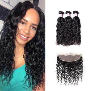 Indian Hair 3 Bundles with Lace Frontal Water Wave Hair