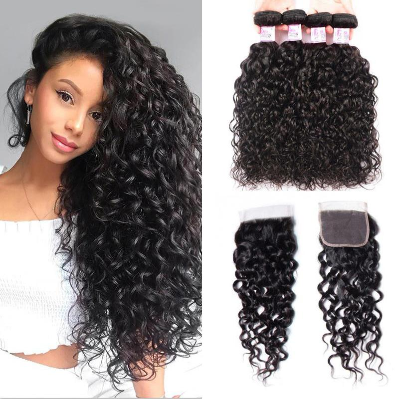 Indian Hair 4 Bundles with Lace Closure Water Wave Hair