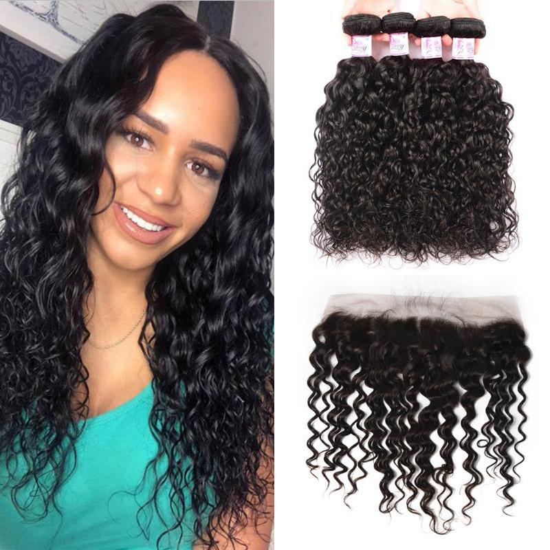 Indian Hair 4 Bundles with Lace Frontal Water Wave Hair