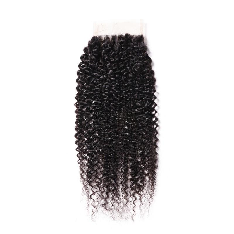 Virgin Hair Kinky Curly Lace Closure with Baby Hair (#1B Natural Black)