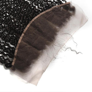 Virgin Hair Kinky Curly Lace Frontal with Baby Hair (#1B Natural Black)