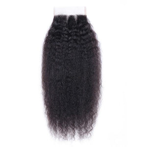 Virgin Hair Kinky Straight Lace Closure with Baby Hair (#1B Natural Black)