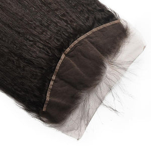 Virgin Hair Kinky Straight Lace Frontal with Baby Hair (#1B Natural Black)