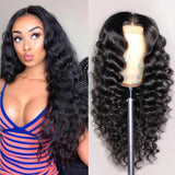 Human Hair Wigs Loose Deep Wave Lace Closure Wigs