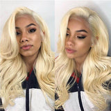 Human Hair Wigs Body Wave Lace Front Wigs with Baby Hair (#613 Bleach Blonde)