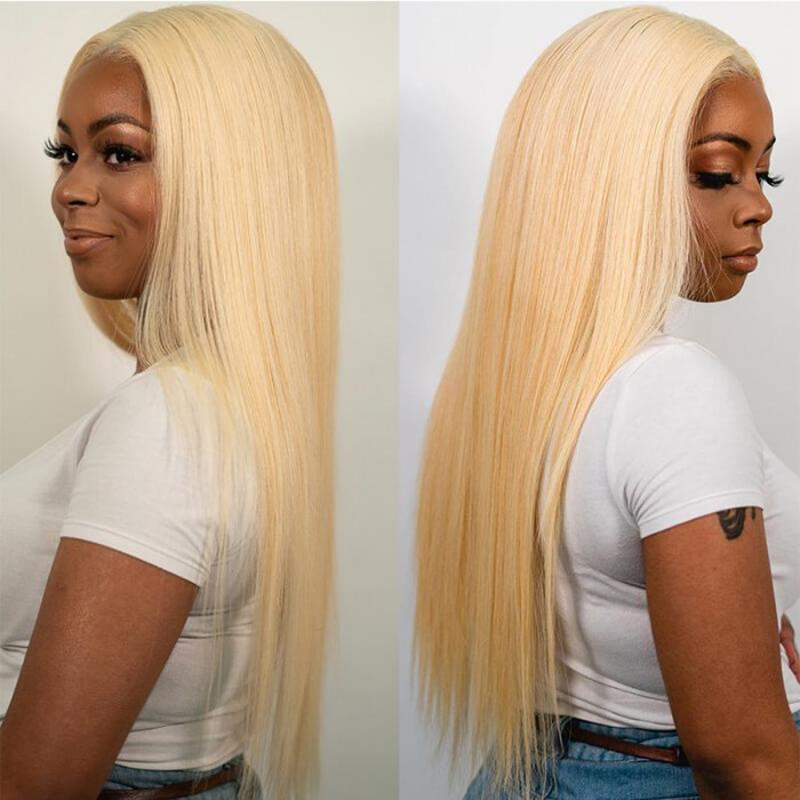 Human Hair Wigs Straight Lace Front Wigs (#613 Bleach Blonde)