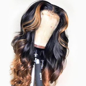 Human Hair Wigs Straight Ombre Lace Front Wigs (#1B/30)
