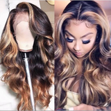 Human Hair Wigs Loose Wave Ombre Lace Front Wigs with Baby Hair (#1B/30)