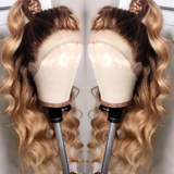 Human Hair Wigs Straight Ombre Lace Front Wigs (#4/27)
