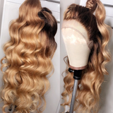 Human Hair Wigs Loose Wave Ombre Lace Front Wigs with Baby Hair (#1B/27)