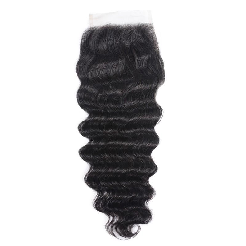 Virgin Hair Loose Deep Lace Closure with Baby Hair (#1B Natural Black)