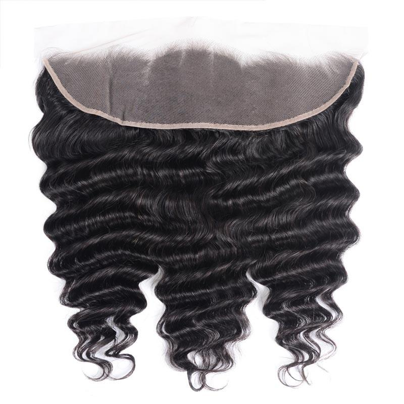 Virgin Hair Loose Deep Lace Frontal with Baby Hair (#1B Natural Black)