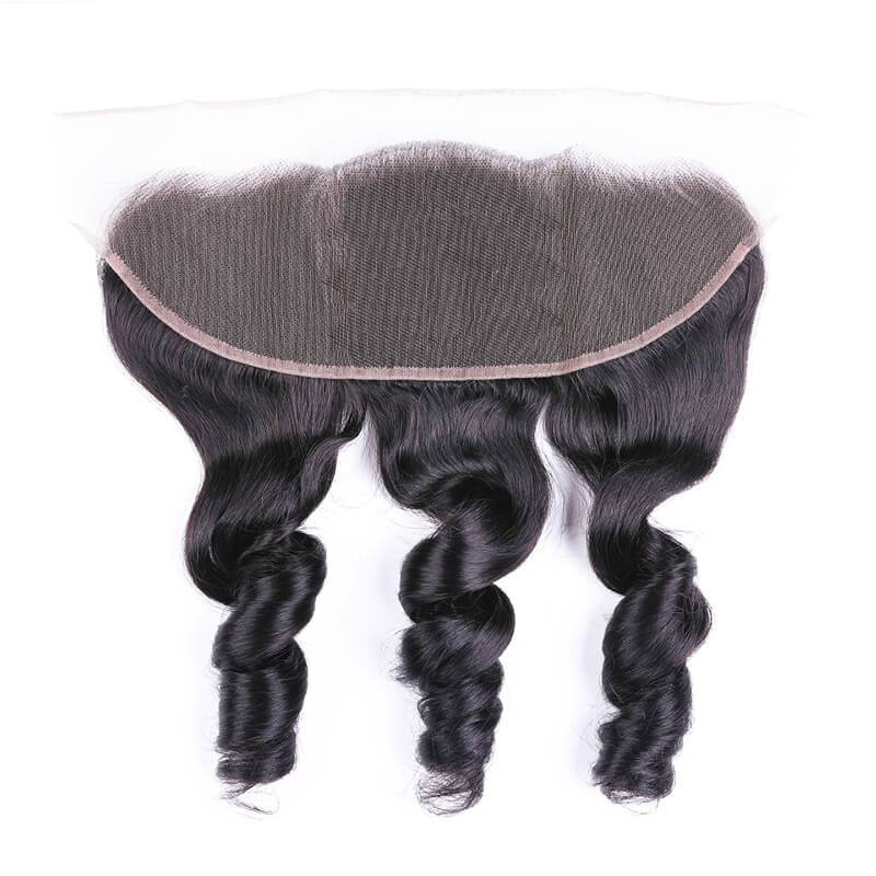 Virgin Hair Loose Wave Lace Frontal with Baby Hair (#1B Natural Black)