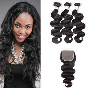 Malaysian Hair 3 Bundles with Lace Closure Body Wave Hair