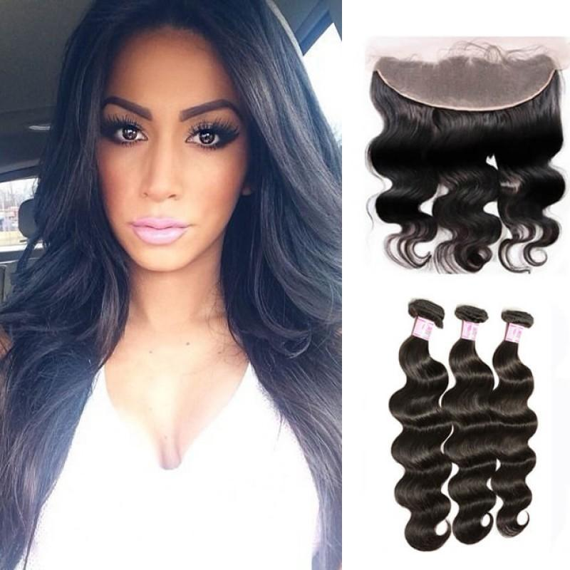 Malaysian Hair 3 Bundles with Lace Frontal Body Wave Hair