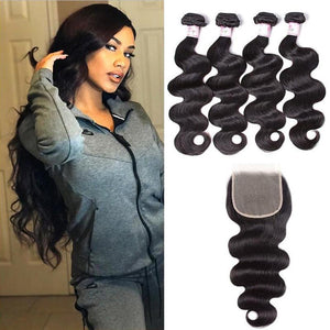 Malaysian Hair 4 Bundles with Lace Closure Body Wave Hair