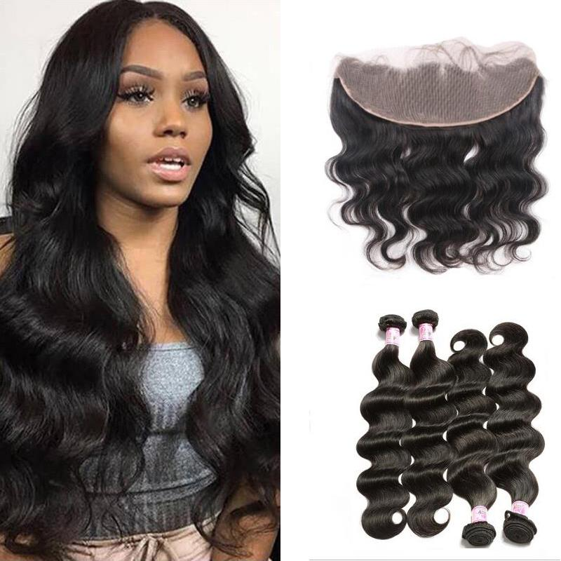 Malaysian Hair 4 Bundles with Lace Frontal Body Wave Hair