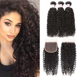 Malaysian Hair 3 Bundles with Lace Closure Curly Hair