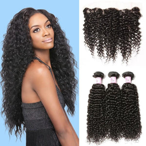 Malaysian Hair 3 Bundles with Lace Frontal Curly Hair