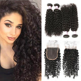 Malaysian Hair 4 Bundles with Lace Closure Curly Hair