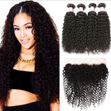 Malaysian Hair 4 Bundles with Lace Frontal Curly Hair