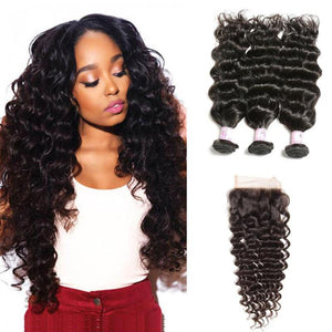 Malaysian Hair 3 Bundles with Lace Closure Deep Wave Hair