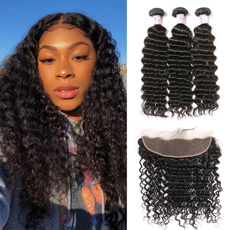 Malaysian Hair 3 Bundles with Lace Frontal Deep Wave Hair