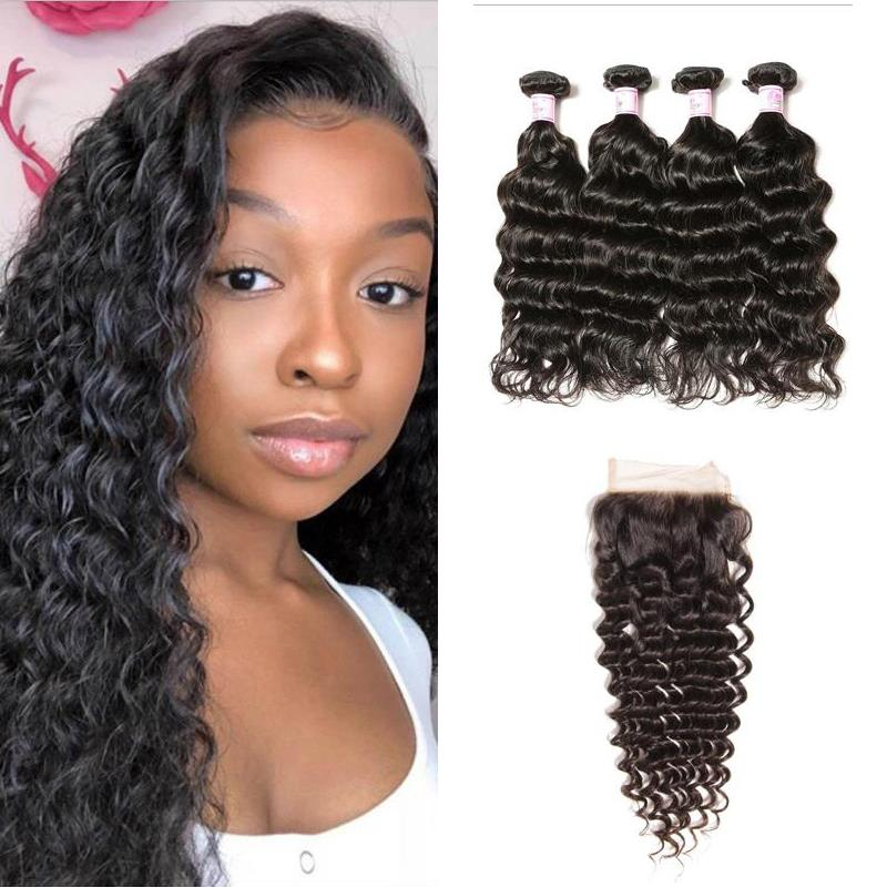 Malaysian Hair 4 Bundles with Lace Closure Deep Wave Hair