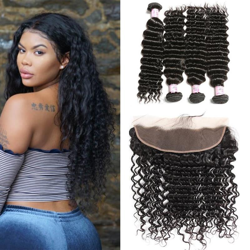 Malaysian Hair 4 Bundles with Lace Frontal Deep Wave Hair