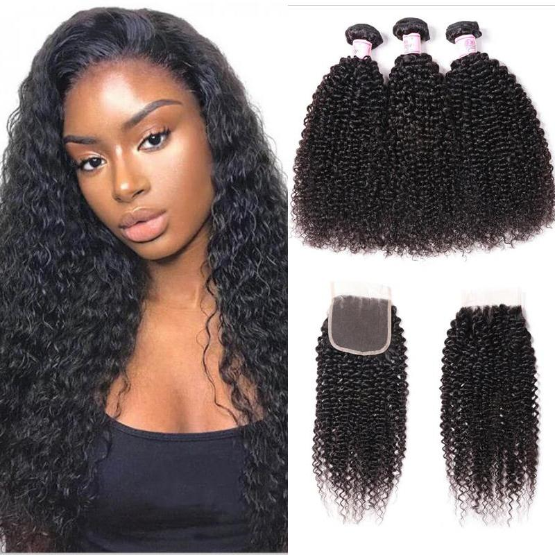 Malaysian Hair 3 Bundles with Lace Closure Kinky Curly Hair